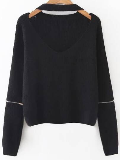 Black Choker V Neck Zipper Sleeve Sweater