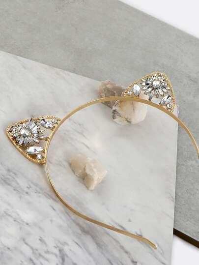 Floral Jewel Cat Ears Headband GOLD