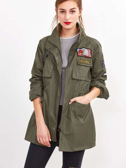 Army Green Embroidered Patches Coat