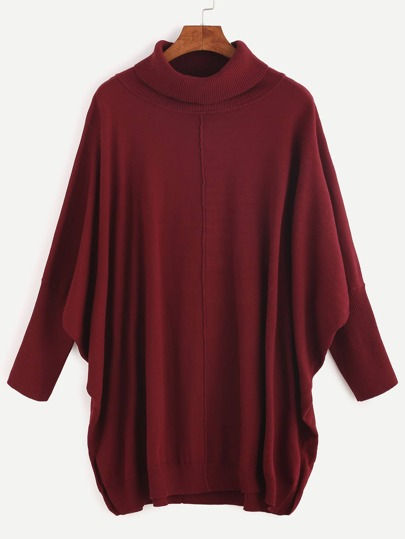 Burgundy Ribbed Turtleneck Dolman Sleeve Sweater