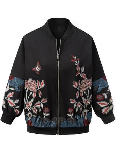 Black Floral Embroidery Zipper Jacket