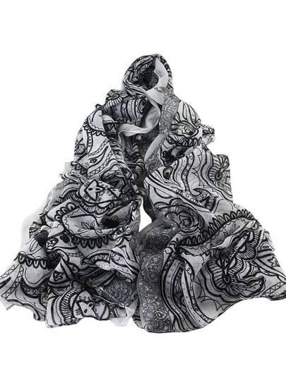 Белый длинный шифоновый шарф с цветочным принтом