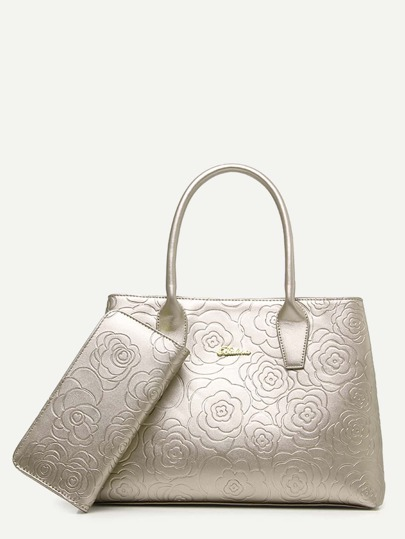 Silver Floral Embossed Handbag With Clutch