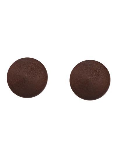 Brown Round Wooden Stud Earrings