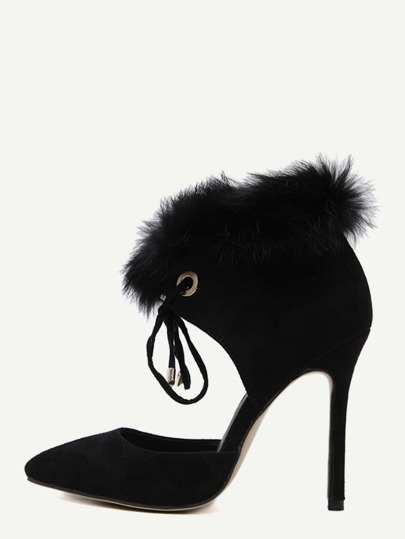 Black Faux Suede Point Toe Faux Fur Cuff Heels