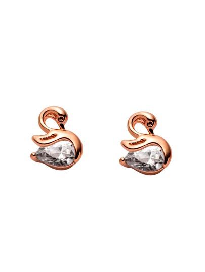 Gold Plated Rhinestone Swan Stud Earrings