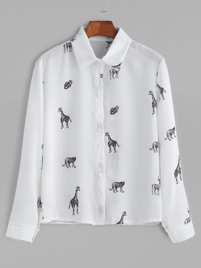 White Animals Print Shirt