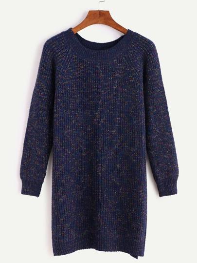 Navy Raglan Sleeve Slit Side Sweater