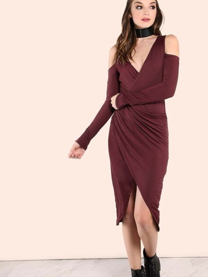 Sleeved Cold Shoulder Wrap Over Midi Dress WINE