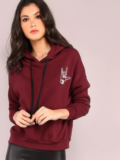 Burgundy Gesture Print Drop Shoulder Hooded Sweatshirt