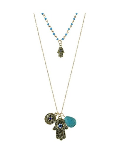 Double Layers Beads Chain Hand Shape Pendant Necklace