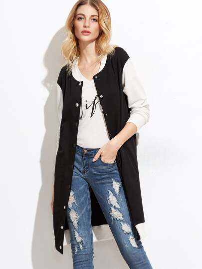 Contrast Button Up Longline Baseball Coat