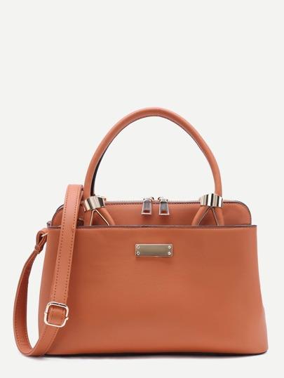 Khaki PU Zip Closure Handbag With Strap