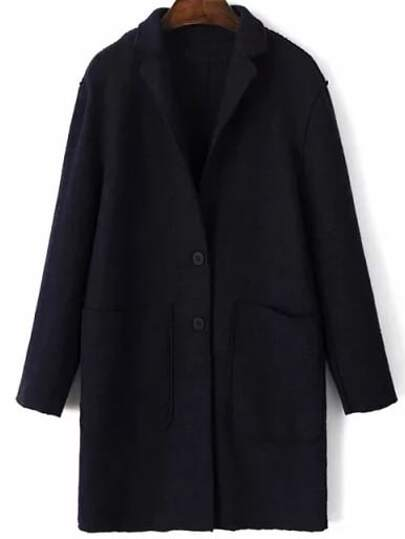 Black Single Breasted Pocket Wool Blend Coat