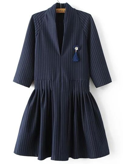 Navy Vertical Striped V Neck Dress With Brooch