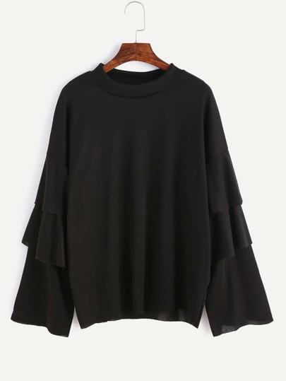 Black Ruffle Tiered Sleeve T-shirt
