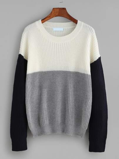 Color Block Drop Shoulder Sweater