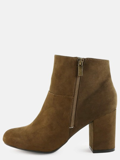 Block Heel Suede Ankle Boots OLIVE