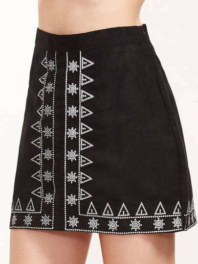 Black Embroidered A-Line Skirt