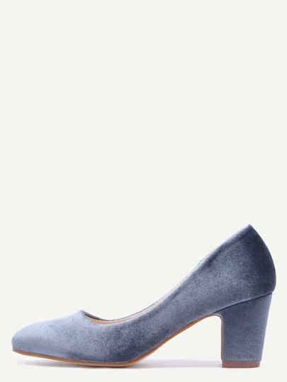 Velvet Almond Toe Chunky Heels