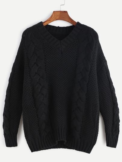 Black V Neck Drop Shoulder Cable Knit Sweater
