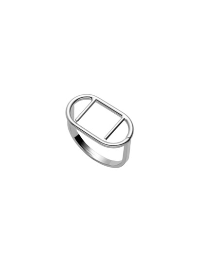 Silver Plated Geometric Hollow Out Ring