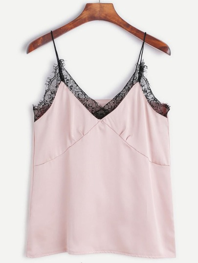 Pink Spaghetti Strap Contrast Lace Cami Top