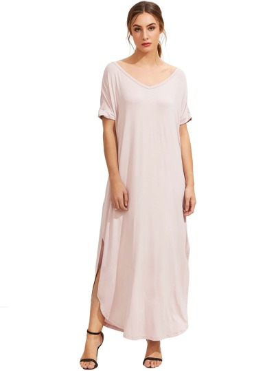 Light Pink Short Sleeve Pocket Split Side Dress