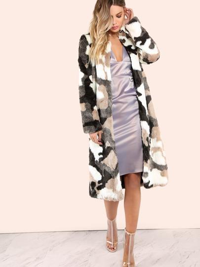 Camo Fur Longline Coat MULTI