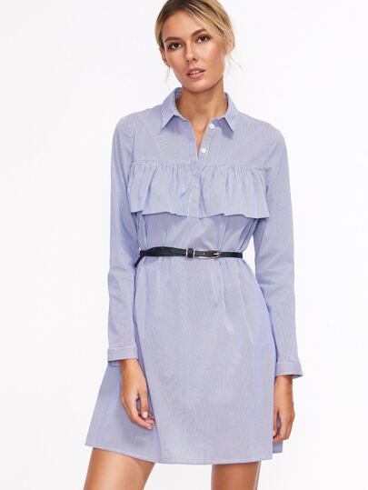 Blue Vertical Striped Ruffle Trim Shirt Dress