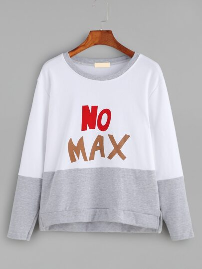 Color Block Letter Print Sweatshirt