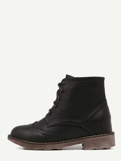 Black Cap Toe Topstitch PU Hidden Heel Booties