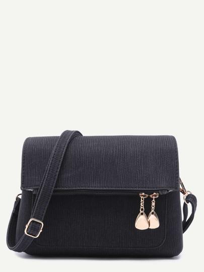 Black Flodover Zip Closure Faux Leather Crossbody Bag