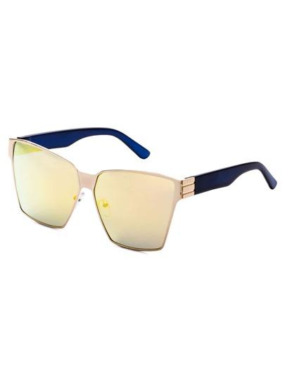 Metal Geometric Frame Gold Lens Sunglasses