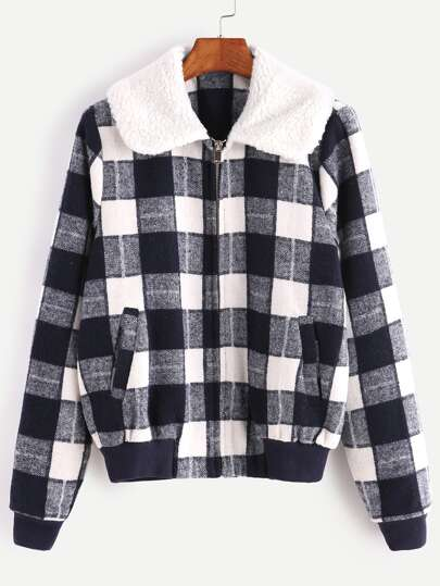 Checkered Faux Shearling Collar Jacket