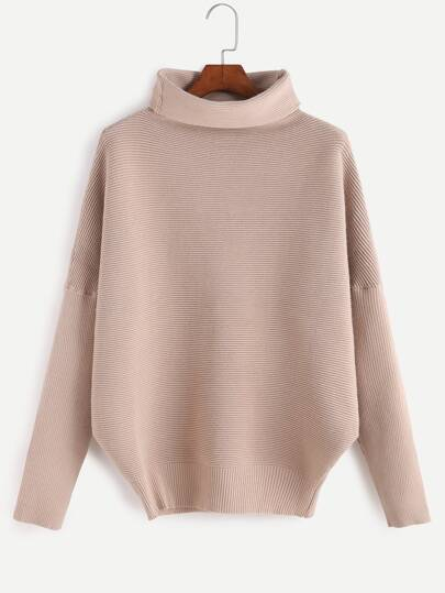 Apricot Cowl Neck Long Sleeve Sweater