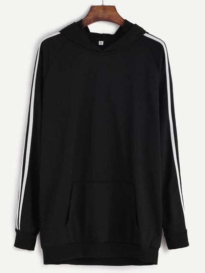 Black Striped Trim Hooded Sweatshirt