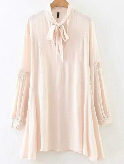 Apricot Tie Neck Long Sleeve Asymmetrical Hem Dress
