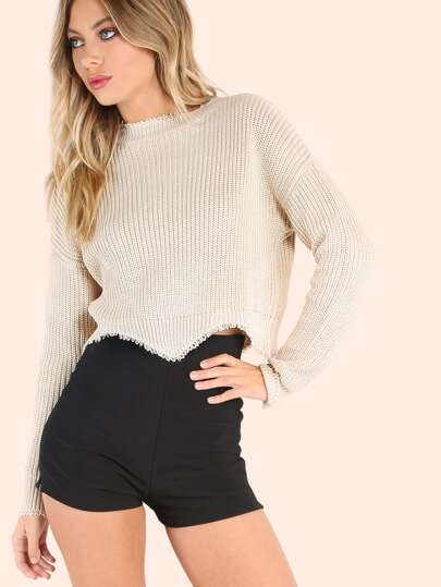 Crew Neck Knit Sweater BEIGE