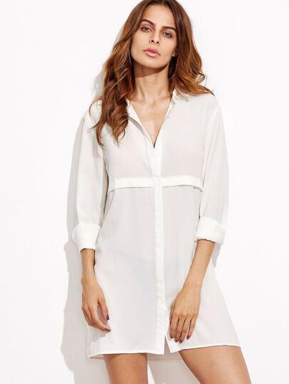 White Button Front Long Sleeve Shirt Dress