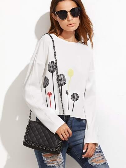 White Geo Print Drop Shoulder Crop Sweatshirt