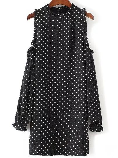 Black Polka Dot Open Shoulder Ruffle Trim Dress