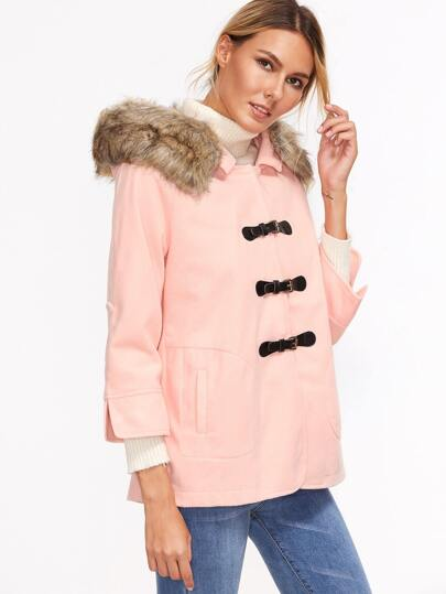 Pink Faux Fur Roll Tab Sleeve Hooded Coat