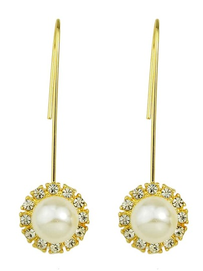 Simple Model Gold Color Imitation Pearl Earrings