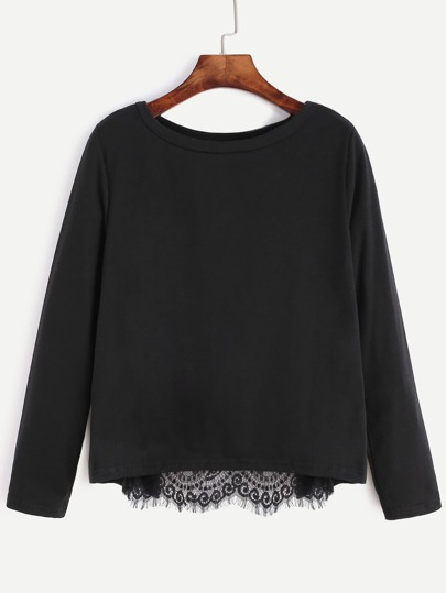 Black Contrast Eyelash Lace Wrap Back T-shirt