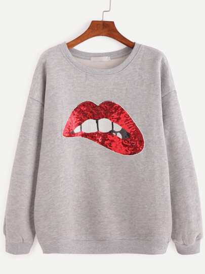Grey Drop Shoulder Sequin Sweatshirt