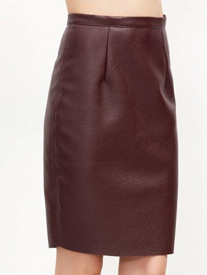 Burgundy Zipper Back PU Skirt