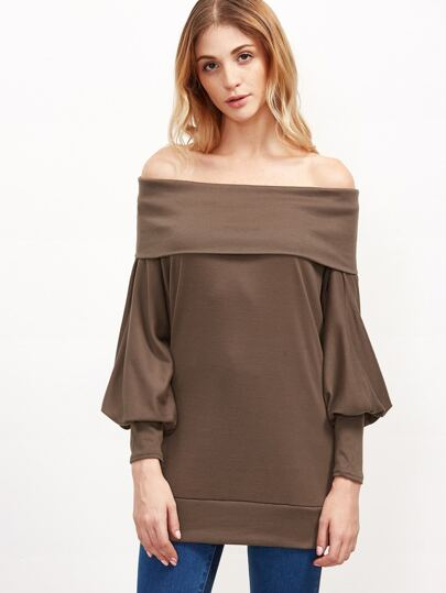 Coffee Off The Shoulder Foldover Sweatshirt