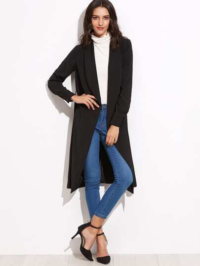 Black Shawl Collar Wrap Duster Coat