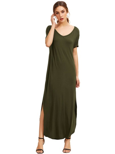 Green Short Sleeve Pocket Split Side Dress